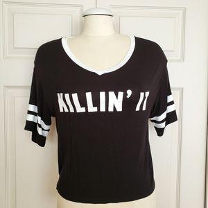 Killin It Black & White Crop Top